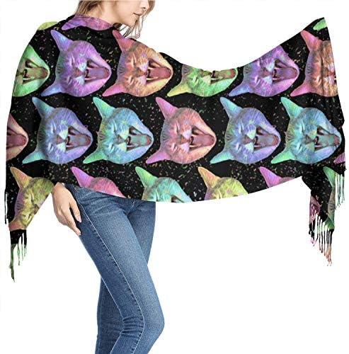 "Vikimen Wickelschal Große Schals Fransenschal Neon Rainbow Kawaii Kitty Cat Galaxy Womens Cashmere Shawl Scarves Scarfs for Women Wraps Scarf Winter Scarf 77"" X 26"""