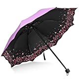 Sakura Umbrella-Windproof Anti UV Rain/Sun,Cherry Blossom Folding Umbrella (Purple)