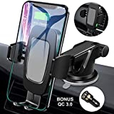 FiGoal Qi Wireless Car Charger Mount with QC 3.0 USB Adapter Auto Clamping 10W 7.5W Fast Charging Air Vent Windshield Dashboard Phone Holder Compatible with iPhone Xs Max XR 8 Samsung S10 S9 S8 Note 9