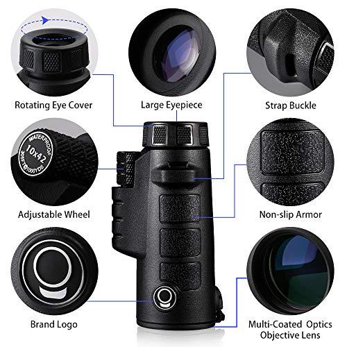 K F Concept Optics Explorer High Powered 10X42 Single Hand Focus Monocular Waterproof Fogproof IP67