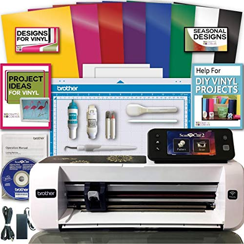 Brother ScanNCut 2 Scan n Cut Machine Rainbow Vinyl Transfer Paper Hook Designs ()