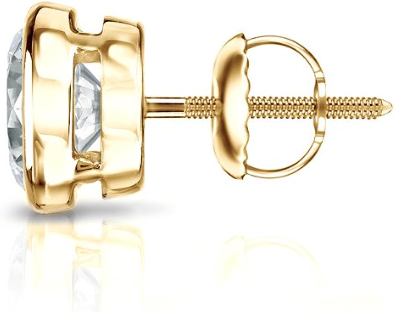 1//8-1cttw,Excellent Quality 14k Yellow Gold Men Round Diamond Simulant CZ SINGLE STUD Earring Bezel