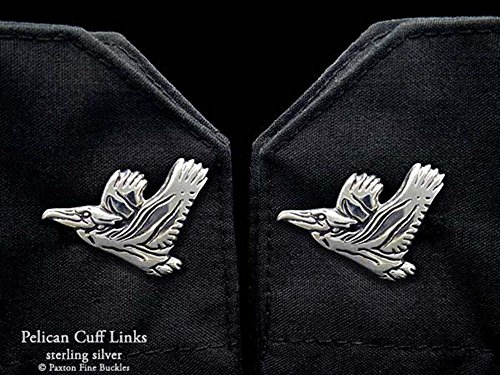 Pelican Cuff Links in Solid Sterling Silver Hand Carved & Cast by Paxton by Paxton Jewelry