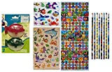 Ocean Animals - School Supplies Kit of 6 Items - 4 Different Sea Creature Loose Pencils, Pack of 2 Piranha Pencil Sharpeners, and Pack of 172 Sea Life Stickers