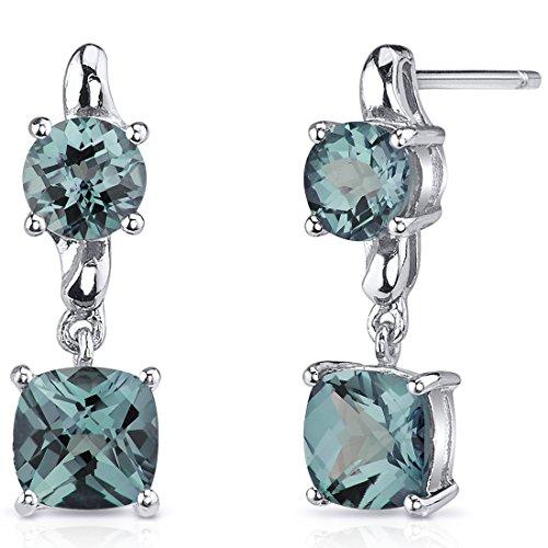 (Cushion Cut Simulated Alexandrite Earrings Sterling Silver 4.00 Carats)