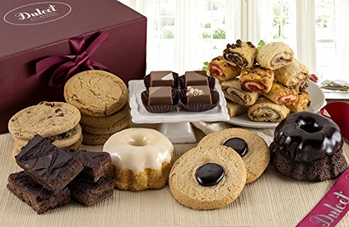 Dulcet's Delightful Gift Basket Collection-Includes Chocolate Mini BUndt, Lemon Mini Bundt, Peanut Butter, Chocolate Chip, and Chinese Cookies, Fudge Brownies,Chocolates, and Rugelah. Tasty Gift!