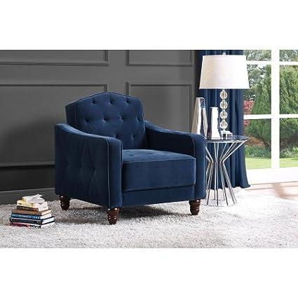 Wonderful Novogratz Vintage Tufted Armchair, Multiple Colors (Navy)