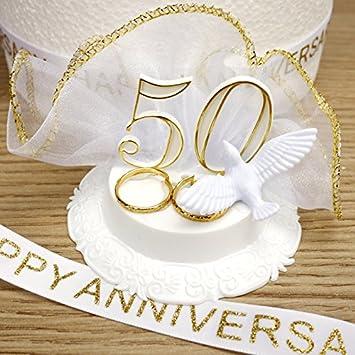 Goldene Hochzeit Jahrestag Kuchen Deko Set Amazon De Kuche Haushalt