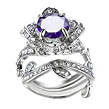 Women's 2PCS Princess Cut Halo Cubic Zirconia Lotus Flower Wedding Bridal Ring Set Filigree Created Amethyst Crystal Solitaire Eternity Rings Size 6