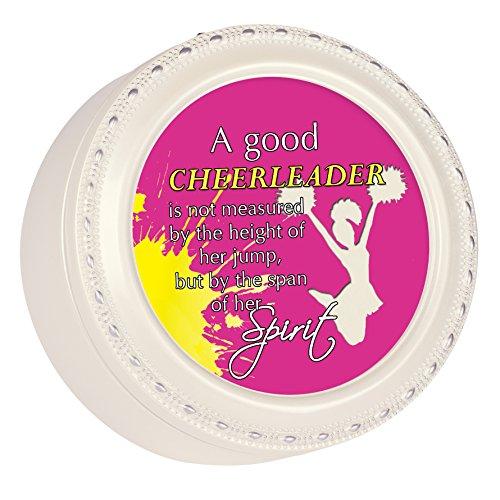 Good Cheerleader Spirit Glossy Ivory Round Jewelry Music Box Plays Tune You Light Up My Life