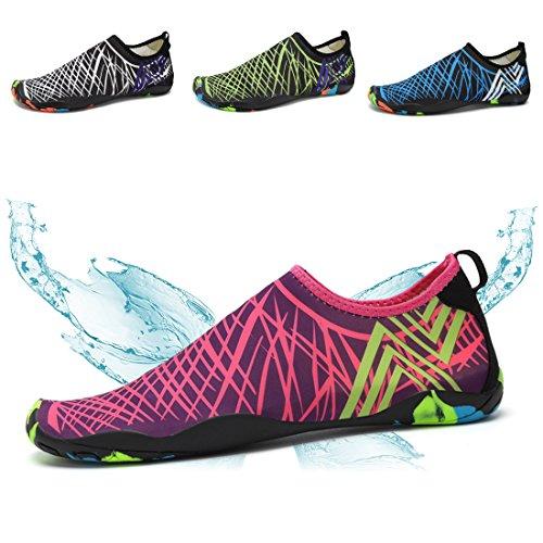 Ceyue Heren Dames Water Schoenen Sneldrogend Zwem Schoenen Sport Aqua Schoenen Met 14 Drainage Gaten Rood