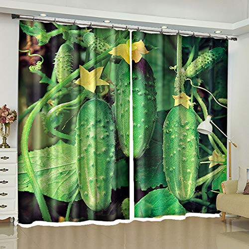 ZZHL Curtains Curtains,Hooks Rings Thermal Insulated Bedroom Blackout for Livingroom Kitchen 2 Panels Vegetables (Size : 150x270cm) by ZZHL (Image #3)