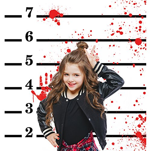 Allenjoy 6x8ft photography backdrops Mugshots Mug shot with blood hand Bachelorette birthday halloween night Party banner photo booth studio background (Halloween Mugshots)