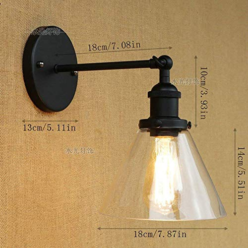 Outdoor Wall Lights Wall Light Industrial Vintage Modern Contemporary Clear Glass Wall Lamp Fittings Loft Bar Kitchen Sconce Adjustable Swing Arm Black Metal E27, Household