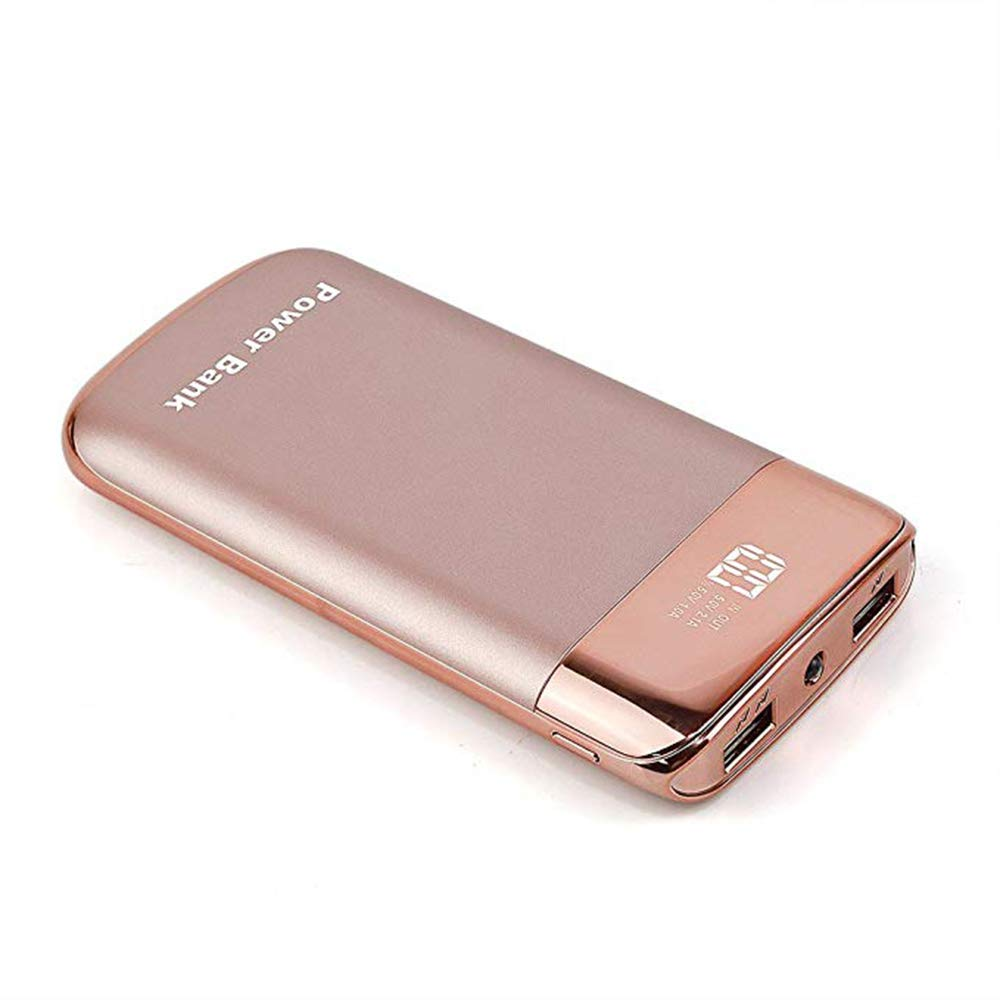 GPWDSN Portable Charger 12000mAh Power Bank 2 USB Output External Battery Smart LED Digital Display and Flash Lights External Charger for iPhone, iPad, Samsung Galaxy, Tablets Rose Gold by GPWDSN