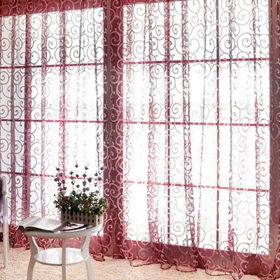 Solid Sweet Floral Tulle Voile Door Window Curtains Black - 1