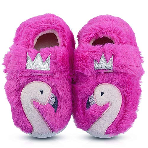 Girls Cute Animal House Shoes Warm Swan Slippers with Crown 6 US Rose - Animals Swan