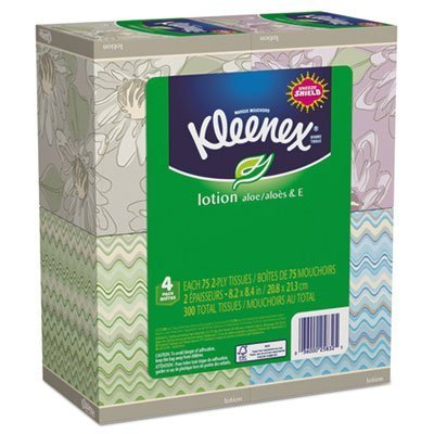 KLEENEX Lotion Facial Tissue, 2-Ply, 75 Sheets/Box, 4 Box/Pack, Sold as 1 Package by Kimberly-Clark Professional