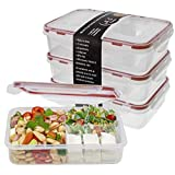 Bento Lunch Box 3pcs set - Meal Prep Containers Microwavable - BPA Free Leak Proof - Portion Control Food Organizer Boxes Divided in 3 Compartments Removable Dishwasher Compatible w/ Snap Locking Lid