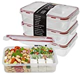 Bento Lunch Box 3pcs set - Meal Prep Containers Microwavable - BPA Free Leak Proof - Portion Control Food Organizer Boxes Divided in 3 Compartments Removable Dishwasher Compatible w/ Snap Locking Lid ()