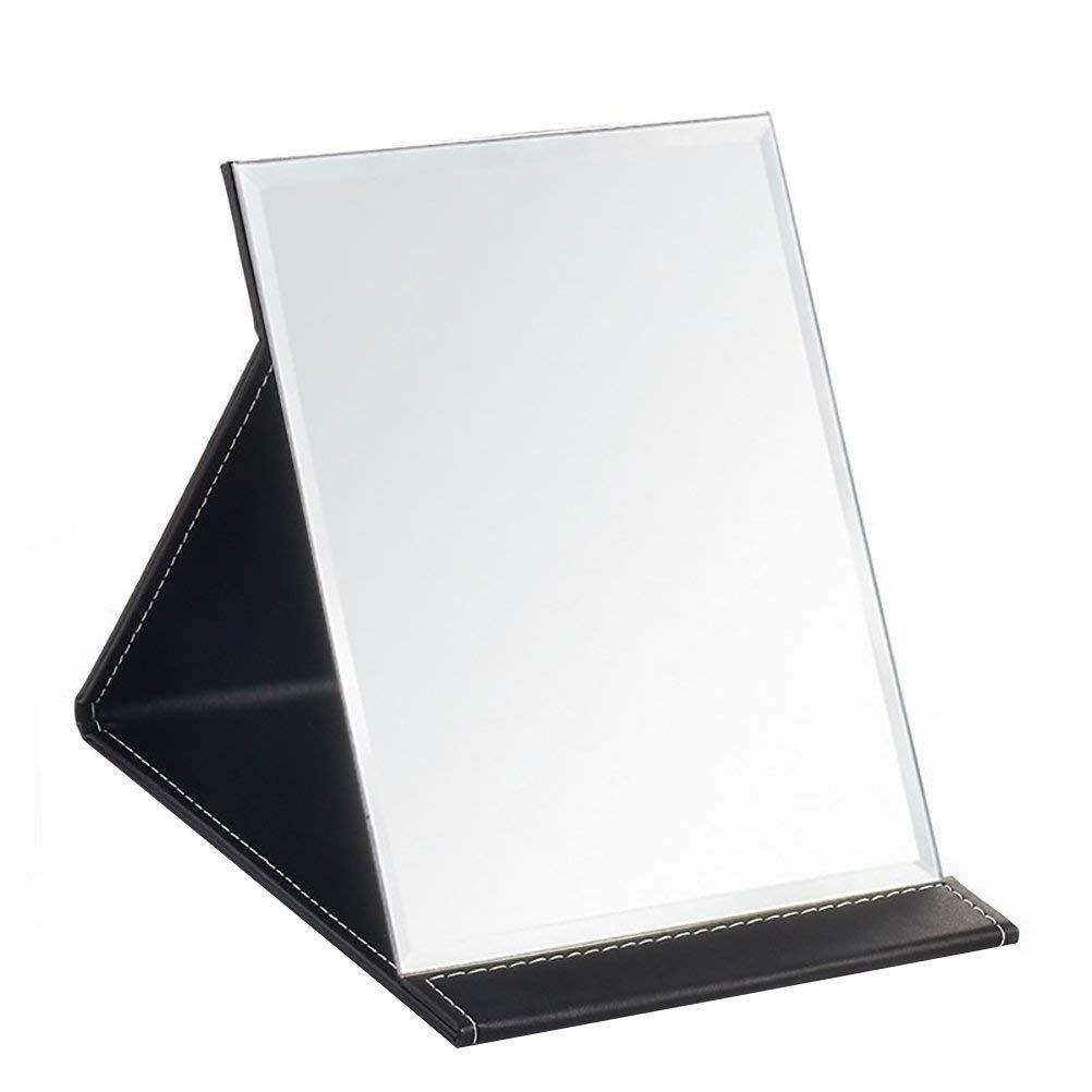 JOLY Protable PU Leather Mirror Folding Desktop Makeup Mirror with Adjustable Stand for Personal Use,Travelling (L, Black)