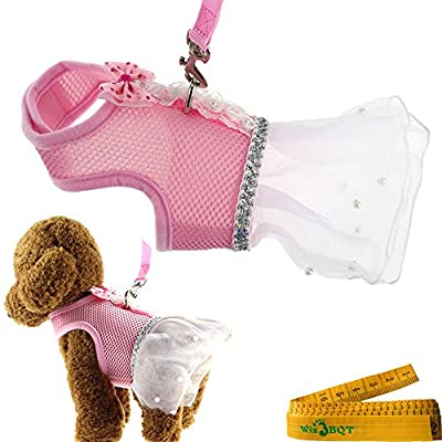 Cute Elegant Pink Mesh Dog Cat Pet Vest Harness with Bow tie Lace and White Short Skirt Dress Artificial Pearls and Matching Leash Set for SMALL Dogs Cats Pets