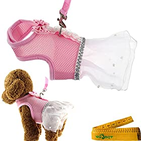 Cute Elegant Pink Mesh Dog Cat Pet Vest Harness with Bow tie Lace and White Short Skirt Dress Artificial Pearls and Matching Leash Set for Dogs Cats Pets (Chest Girth: 13.8-15.7)