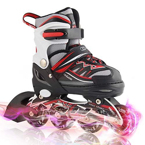 シンカンセンサー市区町村TianYan インラインスケート ローラースケートサイズ調整可能 全ウィールが光る 大人 キッズ 子供用 初心者向け メッシュ 通気性抜群 ローラーシューズ ローラー