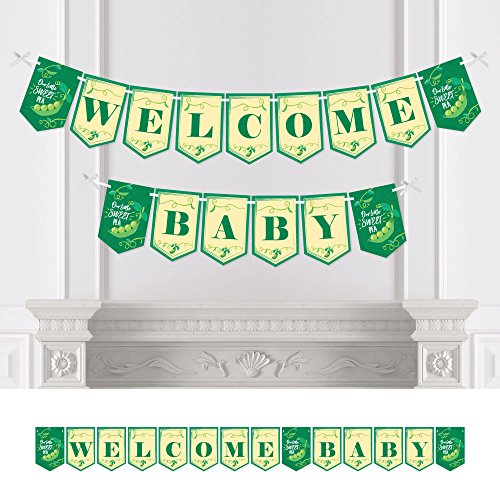 Big Dot of Happiness Sweet Pea in a Pod - Baby Shower Bunting Banner - Party Decorations - Welcome Baby -
