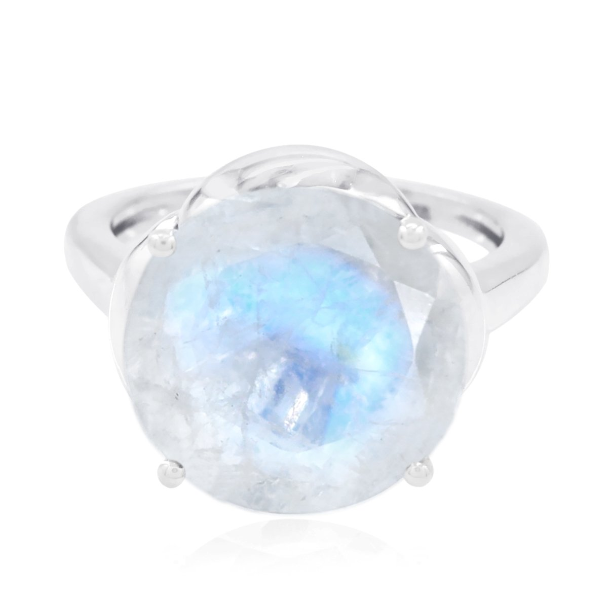 Real Gemstones Round Faceted RainbowMoonstones Ring - Fashion Silber White RainbowMoonstones Real Gemstones Ring - Great Jewelry Greatest Item Gift for Friend US 8.75