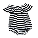 Toraway Toddler Infant Baby Girl Stripe Off Shoulder Romper Jumpsuit Outfits Sunsuit Clothes (6-9 Month, Black)