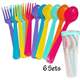 plastic fork dispenser - Hard Plastic Cutlery Colorful Sets mixed color Forks Spoons 6 Sets / Color With Box Food safety Microwave able