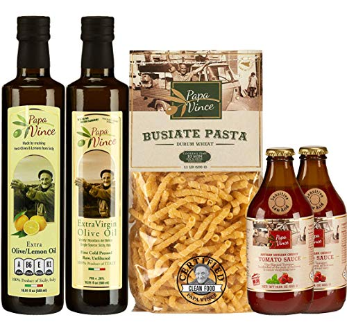 Papa Vince Italian HEALTHY GOURMET FOOD BASKET Gift Set | ingredients are locally grown in Sicily, Italy | NON GMO, No Additive, No Preservatives, Low-Hypoglycemic, Vegan, Low Acid, Sensitive Stomach