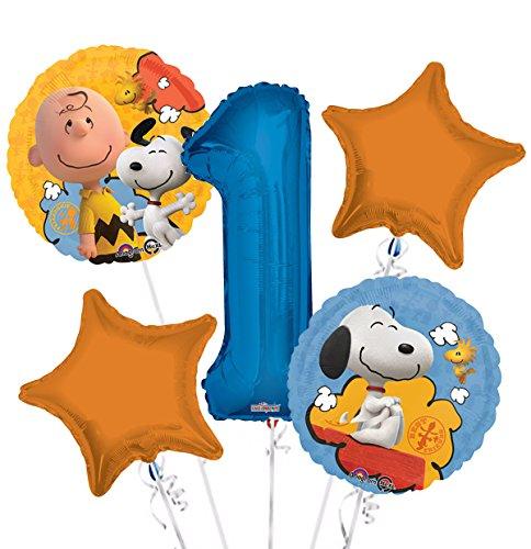 Peanuts Balloon Bouquet 1st Birthday 5 pcs -