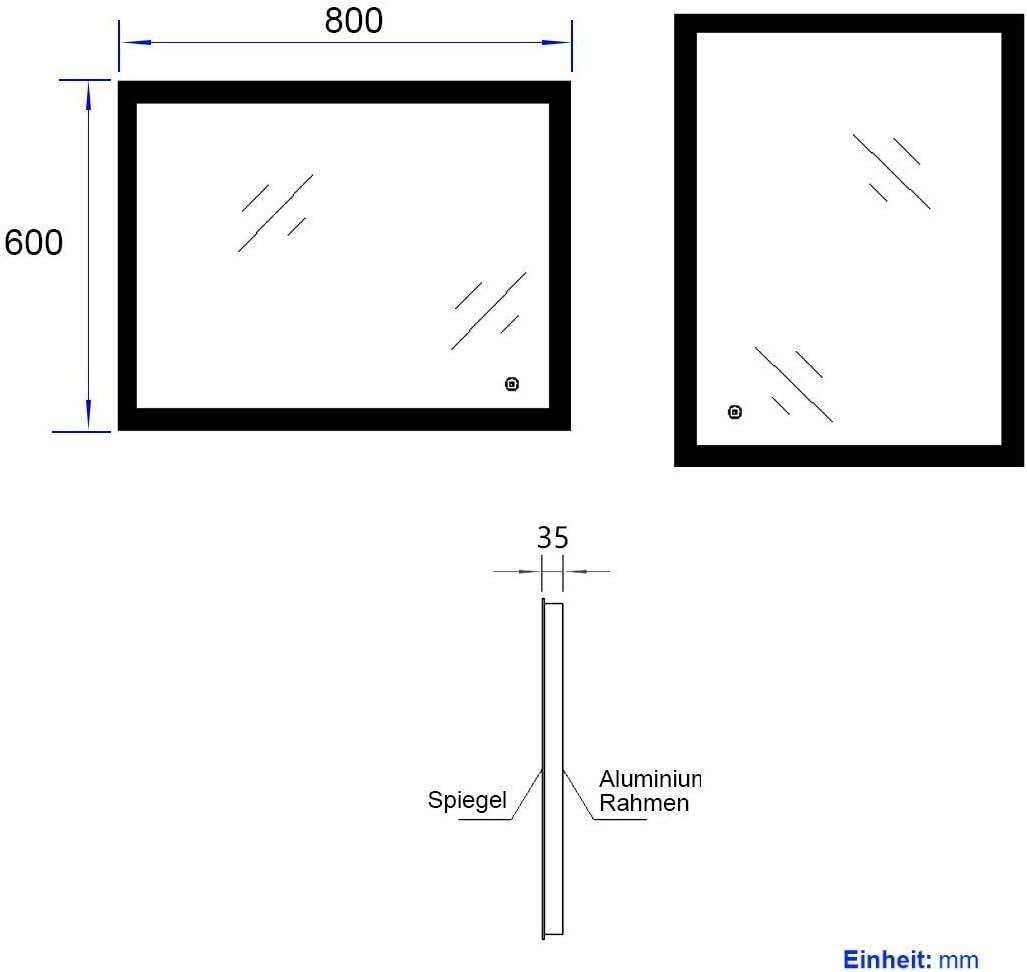 EMKE Wandspiegel Badezimmerspiegel LED Badspiegel mit Beleuchtung 80x60cm mit Touch Schalter und Beschlagfrei Badezimmerspiegel Dimmbar Lichtspiegel mit Dimmer Warmwei/ß 3000K//Kaltwei/ß 6400K//Neutral