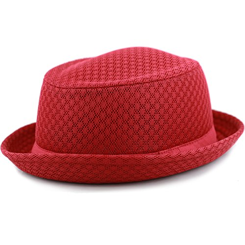 THE HAT DEPOT Light Weight Classic Soft Cool Mesh Porkpie Hat (S/M, Red)