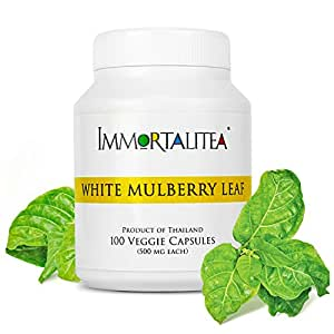 Immortalitea Low Blood Sugar Supplement, White Mulberry Leaf Capsules, Natural Sugar and Fat Blocking Morus Alba Powder, Support Healthy Blood Glucose Level, 100 Caffeine-Free Veggie Pills 500 mg each