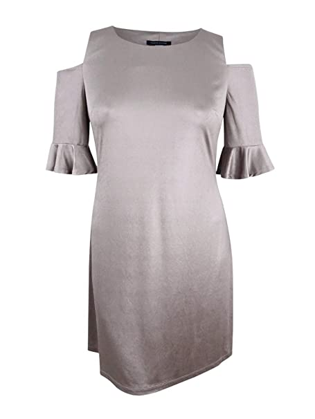 1e812337c84 Tommy Hilfiger Women's Velvet Cold-Shoulder Sheath Dress (2, Champagne)
