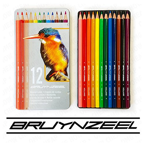 12 colouring pencils in kingfisher design metal
