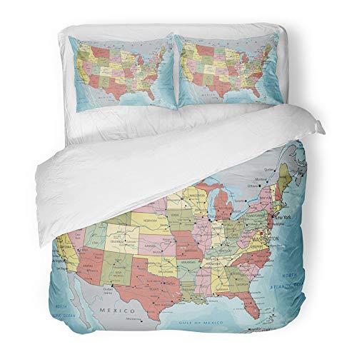 (Emvency Decor Duvet Cover Set Full/Queen Size Blue Road Detailed USA Political Map Atlantic Atlas Bathymetry California Canada 3 Piece Brushed Microfiber Fabric Print Bedding Set Cover)