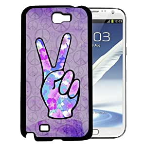 Floral Peace Fingers with Peace Sign Purple Grunge Background (Samsung Galaxy Note II 2 N7100) Hard Snap on Phone Case Cover