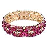 EVER FAITH Women's Round Austrian Crystal Elegant Bridal Stretch Bracelet Fuchsia Gold-Tone