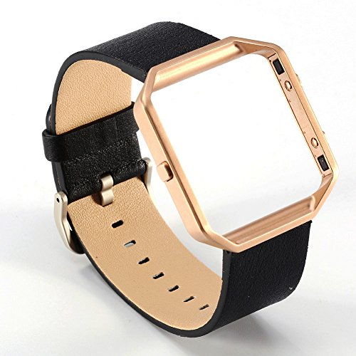 Valkit Fitbit Blaze Watch Bands - Genuine Leather Band Replacement Strap Bracelet Wrist Band with Stainless Steel Frame for Fitbit Blaze Smart Fitness Watch - (Black Leather + Rose Gold Metal Frame)
