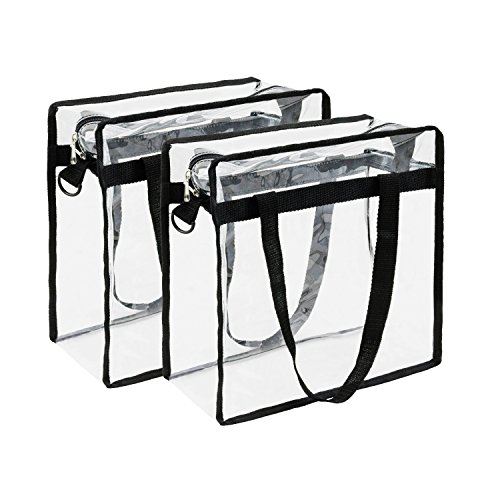 Housebles Stadium Tote Bag, Clear PVC Vinyl Bags, 12x12x6, 2 Pack, Clear, Plastic, Heavy Duty Transparent Handbag, Zipper Totes, NFL Approved Gear, For Game, Gym, Work, Lunch by Houseables