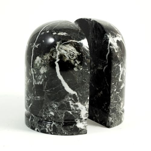 Bey Berk Marble Black Zebra Bookends by Bey-Berk
