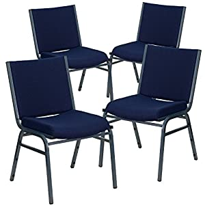 Flash Furniture 4 Pk. HERCULES Series Heavy Duty Navy Blue Dot Fabric Stack Chair