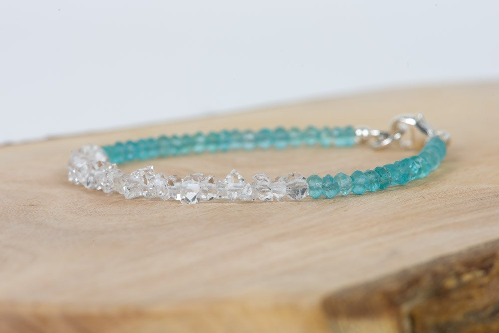 Delicate Bracelet Herkimer Type Diamond Natural Crystal Quartz Gemstone Bracelet Blue Apatite Bracelet