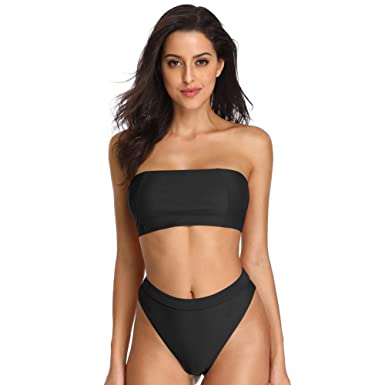 fd8ddba1dd1 Dixperfect Sexy Bikini Set Swimwear Classic Bandeau Tube Top 80's/90's High  Cut Bottom for