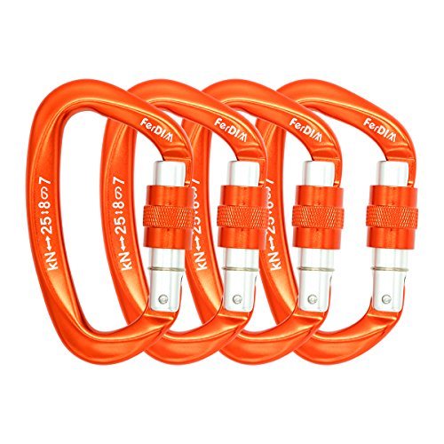 (FerDIM 25KN Rock Climbing Carabiner, D-Shaped Hot-Forged Magnalium Locking Climbing Hook Holds 5511lbs with Screwgate Clip Climber Hiking Karabiner Outdoor Sport Tools CE Certified (Orange, 4/Pack))