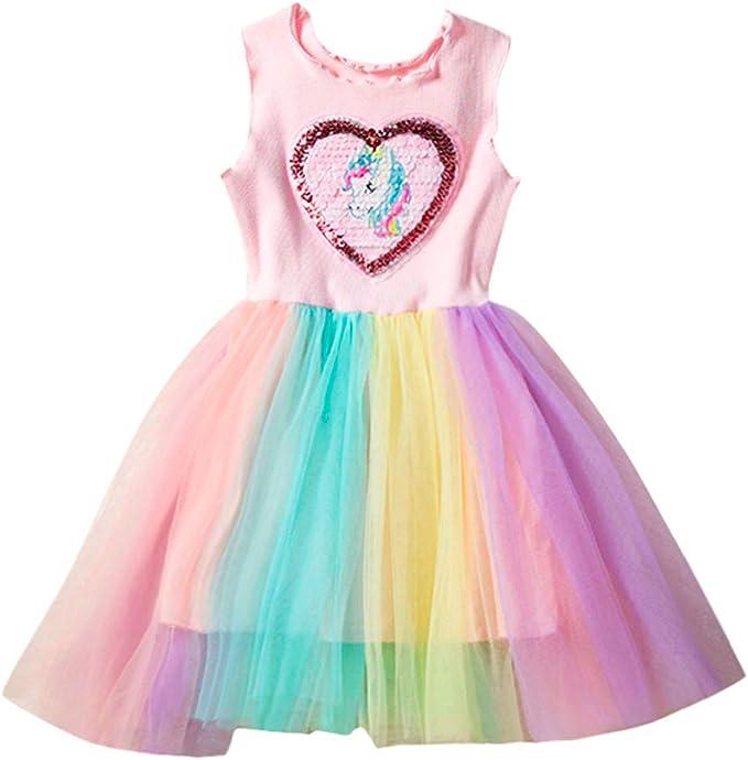 PinkLu niña Vestido Sin Mangas Lentejuelas Colorear Unicornio ...